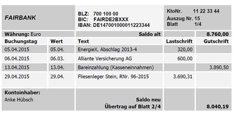deutsche bank kontoauszug belege im detail buchf 252 hren lernen kurs