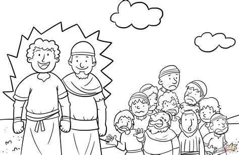 joshua and caleb coloring page bible coloring pages for