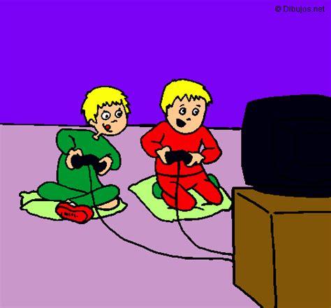 imagenes de niños jugando videojuegos animados dibujo de ni 241 os jugando pintado por videojuego en dibujos
