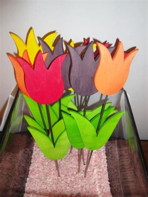 Handmade Wooden Flowers - tulip and handmade on