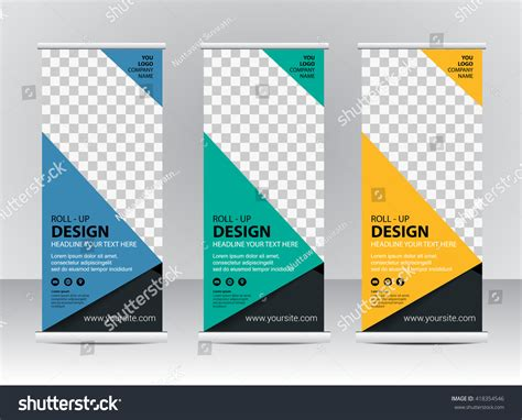 roll banner stand template design stock vector 418354546