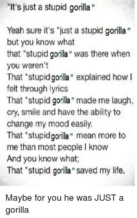 my lyrics explained it s just a stupid gorilla yeah sure it s just a stupid