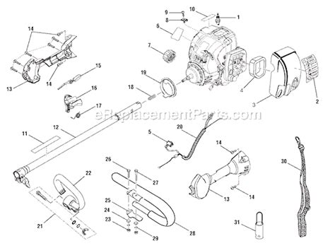 ryobi string trimmer parts diagram ryobi ry30040b parts list and diagram ereplacementparts
