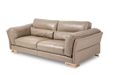 aico sofas aico mia bella monica taupe rosegold leather sofa mb