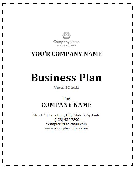 cover page template for a business plan business plan template office templates online