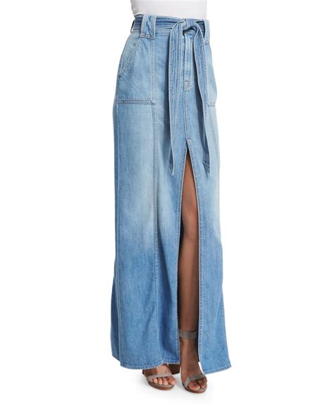7 for all mankind belted denim maxi skirt in blue lyst