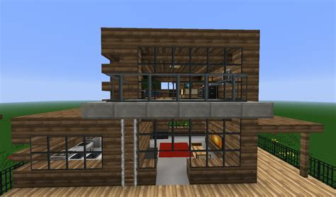 wooden house designs minecraft wooden modern house minecraft project