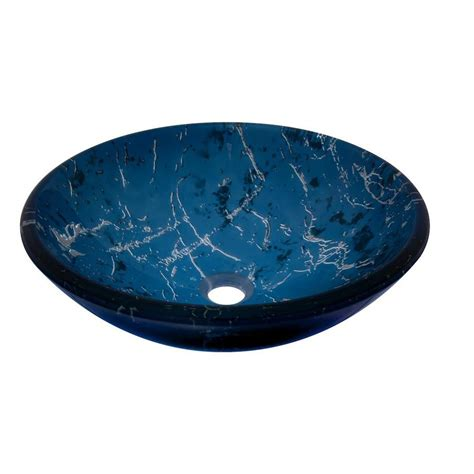 blue glass vessel sink shop novatto marmo blue tempered glass vessel