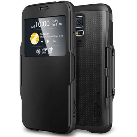 New Spigen Armor Shockproof For Samsung S5 S5 spigen slim armor view for galaxy s5 smooth black