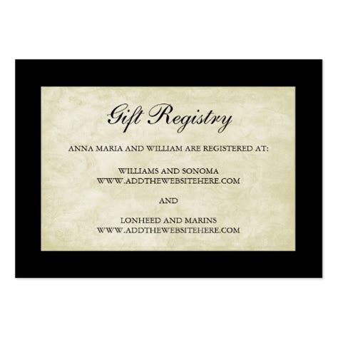 wedding gift registry cards in black and cream large - Gift Card Registry For Wedding