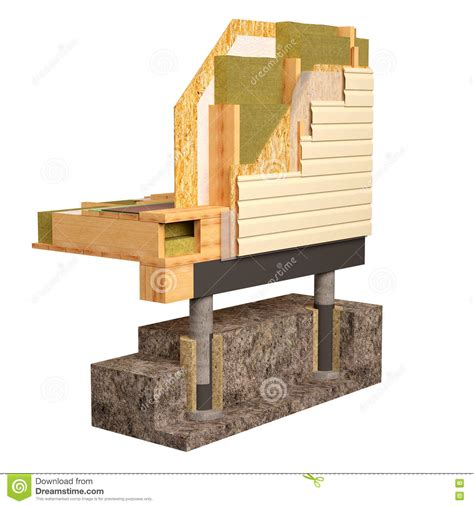 build an a frame house 3d conceptual image of insulation and building
