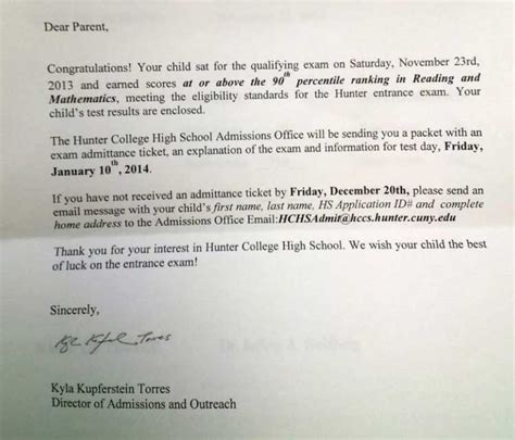 York College Acceptance Letter Prep Manhattan New York City Nyc