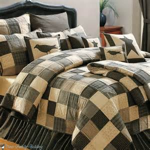 Black country patchwork primitive twin queen cal king quilt cotton