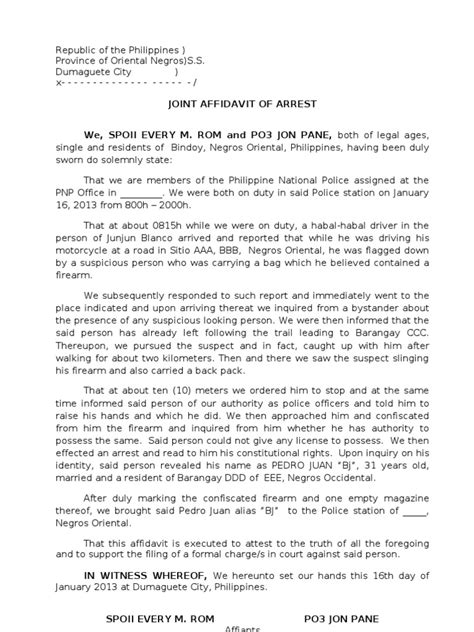Explanation Letter In Affidavit Form 2 Affidavit Of Arrest Illegal Firearms 2 Arrest
