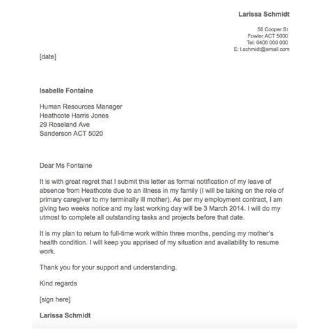 Apology Letter To For Absence Due To Illness 21 simple two weeks notice letter resignation templates