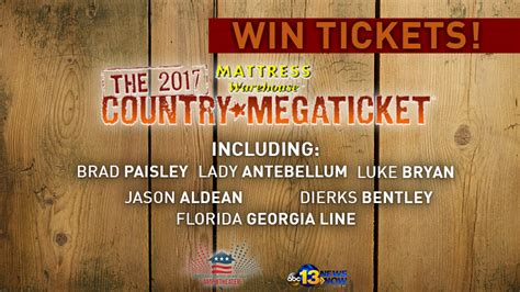 Mattress Sweepstakes 2017 - 2017 mattress warehouse country megaticket sweepstakes rules 13newsnow com