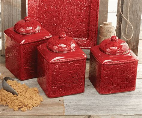 red kitchen canister sets ceramic savannah red canister set 3 pcs