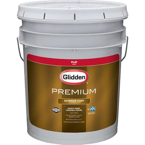 glidden premium 5 gal flat exterior paint gl6112 05 the home depot