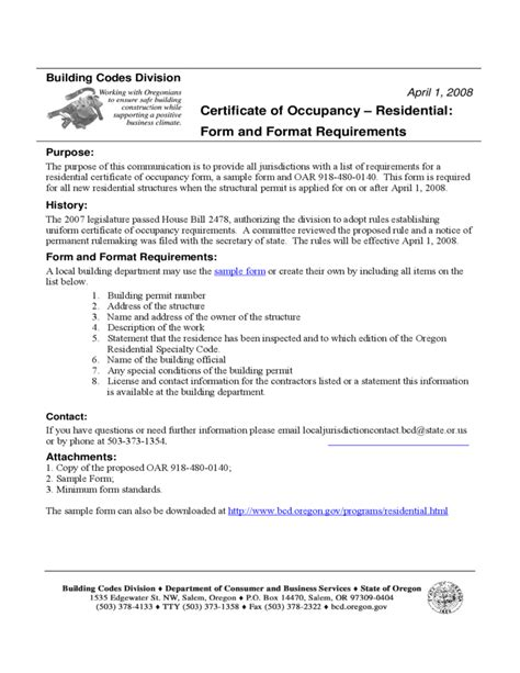 certification letter for occupancy certificate of occupancy residential form and format