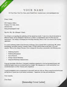 Cover Letter Internship Exles by Internship Cover Letter Sle Resume Genius