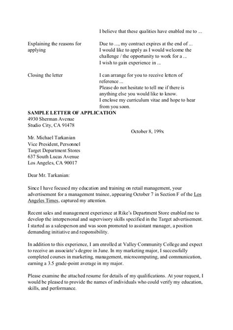 in applying for a position nit 2 writing a letter of application for a