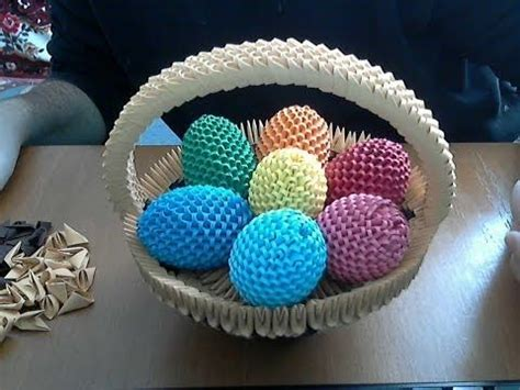 3d origami egg tutorial how to make 3d origami happy easter egg basket youtube
