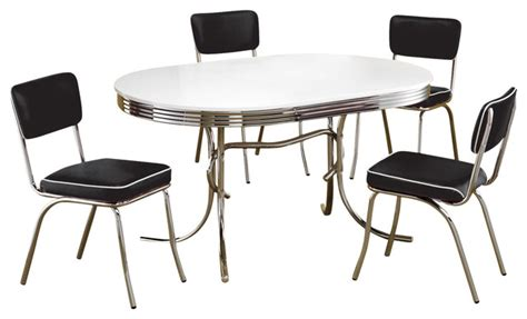 Retro Dining Table Sets Retro Oval Table Cushion Chair 5 Pc Chrome Dining Set Contemporary Dining Sets By Adarn Inc