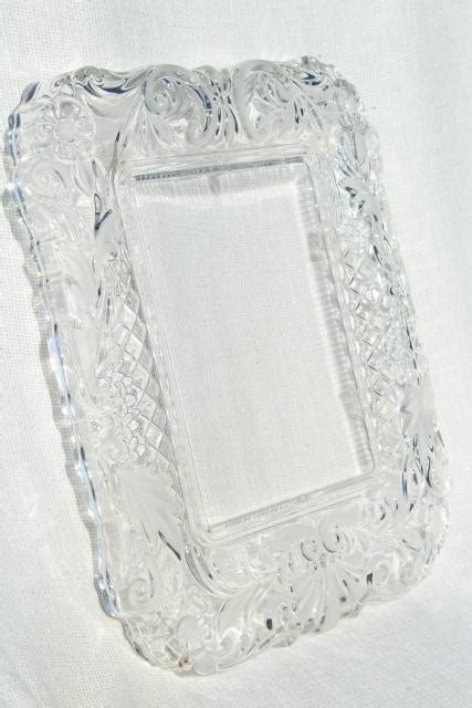 vintage mikasa crystal clear frosted glass frame  tray