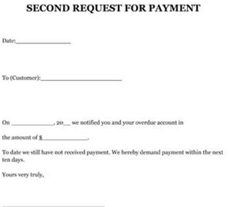 Payment Request Letter Pdf Request 2nd For Payment Letter Sle Small Business Free Forms