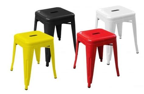 coloured metal low stools v2 cafe reality