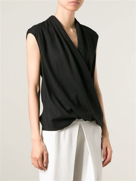 draped blouse helmut lang draped crossover blouse in black lyst