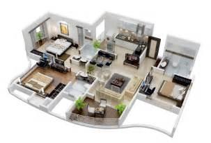Nice 3 Bedroom Apartments Apartment Plan In 25 More 3 Bedroom 3d Floor Plans