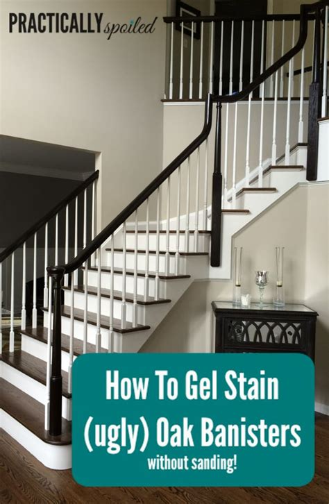 how to stain banister for stairs how to gel stain ugly oak banisters without sanding