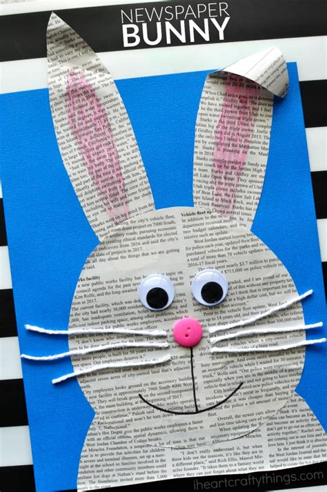 newspaper arts and crafts for simple and easy newspaper bunny craft i crafty things