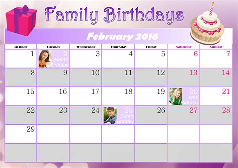 Birthday Calendar Family Birthday Calendar Ideas Creative Photo Design
