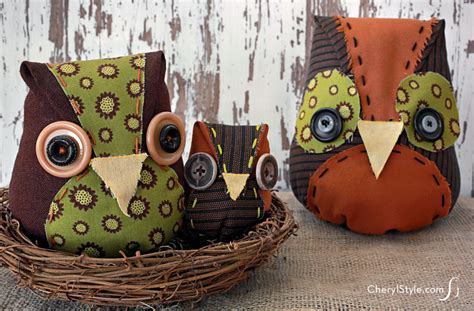 Diy Owl Decorations by Diy Fabric Owls Everyday Dishes
