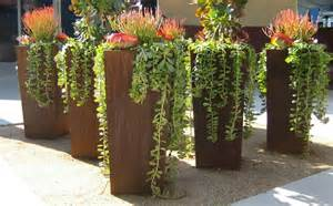 corten planters yard rusted landscape furnishing