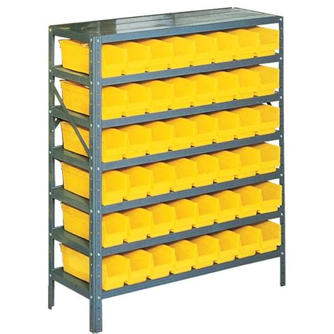 Small Parts Racking by Edsal 42 In H X 36 In W X 12 In D Plastic Bins Small