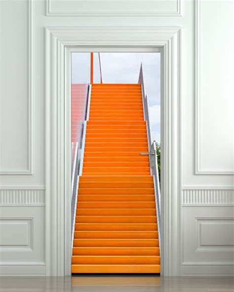 Door Decal by Wall Door Sticker Stair Orange Raise Raising 30x79