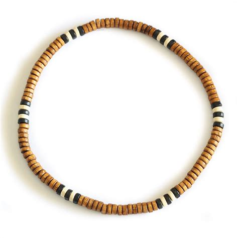 wooden bead necklace mens wooden bead surf necklace tribal mens womens