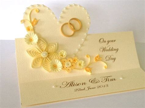 Handmade Paper Wedding Cards - handmade paper quilled wedding day congratulations by