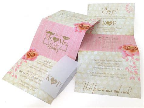 hochzeitseinladung vintage rosa leporello hochzeitseinladung romantik