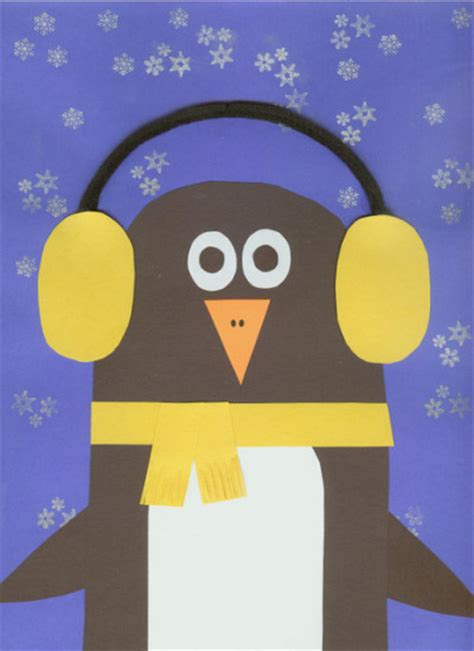 Winter Construction Paper Crafts - earmuff penguin family crafts