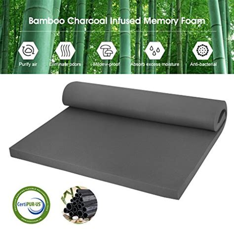 Hypoallergenic Memory Foam Mattress Topper by Langria 2 Inch Bamboo Charcoal Infused Memory Foam