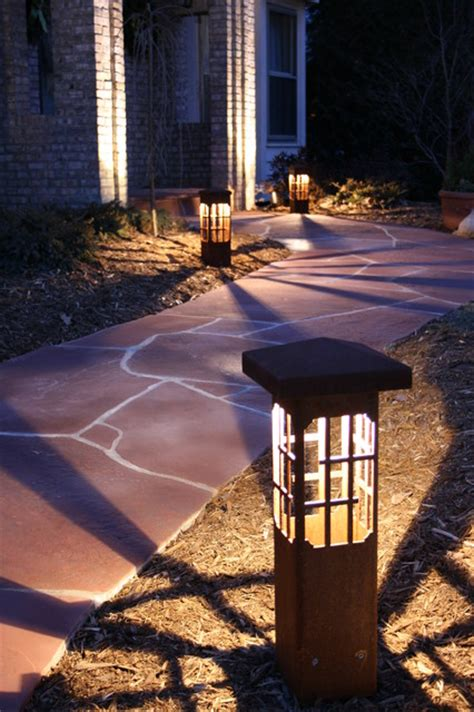 landscape lighting houzz lantern mini bollard 24 quot at driveway eclectic landscape minneapolis by attraction lights