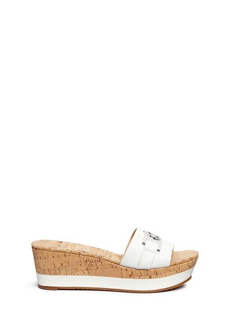 Sandal Juice Wedge 4cm by Michael Kors Warren Leather Cork Wedge Sandals In
