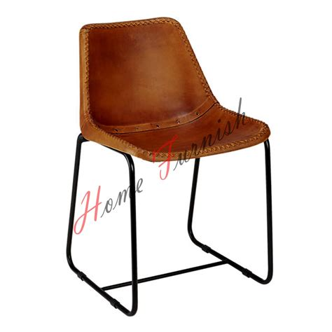 vintage look leather dining chair office chair brown
