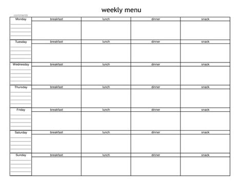 blank weekly menu planner template menu planning