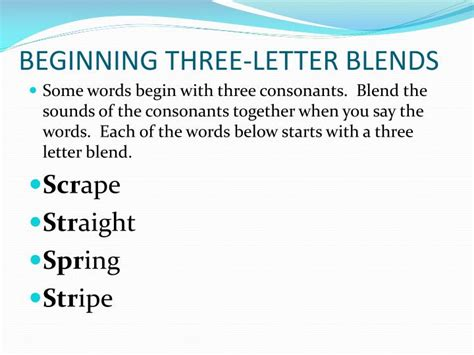 3 letter words starting or ppt beginning three letter blends powerpoint presentation id 2823929