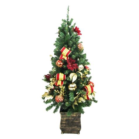 4 ft tree with lights home accents 4 ft battery operated plaza potted